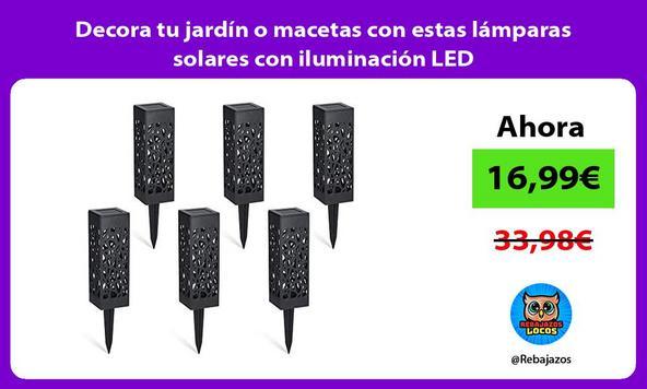 Decora tu jardín o macetas con estas lámparas solares con iluminación LED