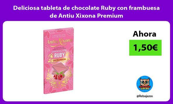 Deliciosa tableta de chocolate Ruby con frambuesa de Antiu Xixona Premium