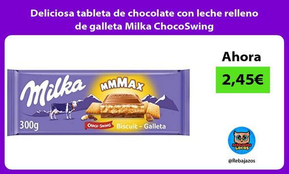 Deliciosa tableta de chocolate con leche relleno de galleta Milka ChocoSwing