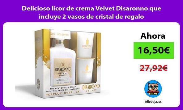 Delicioso licor de crema Velvet Disaronno que incluye 2 vasos de cristal de regalo