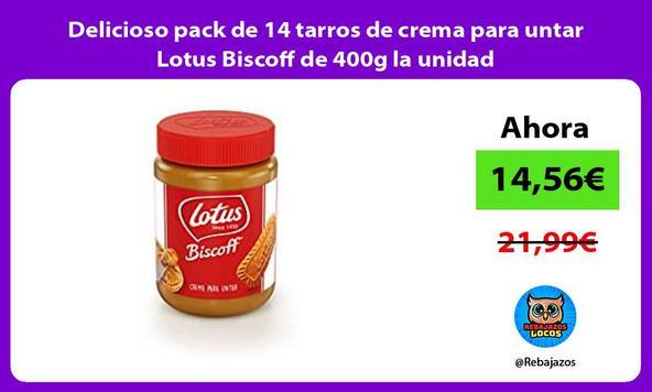 Delicioso pack de 14 tarros de crema para untar Lotus Biscoff de 400g la unidad