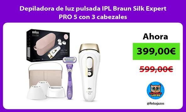 Depiladora de luz pulsada IPL Braun Silk Expert PRO 5 con 3 cabezales