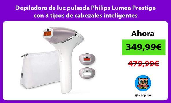Depiladora de luz pulsada Philips Lumea Prestige con 3 tipos de cabezales inteligentes