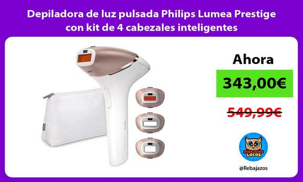Depiladora de luz pulsada Philips Lumea Prestige con kit de 4 cabezales inteligentes
