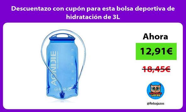 Descuentazo con cupón para esta bolsa deportiva de hidratación de 3L