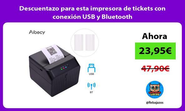 Descuentazo para esta impresora de tickets con conexión USB y Bluetooth