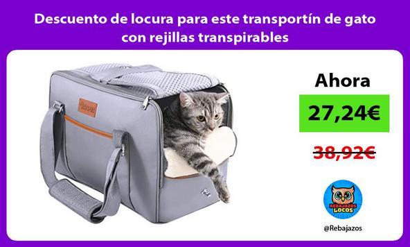 Descuento de locura para este transportín de gato con rejillas transpirables