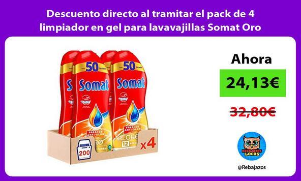 Descuento directo al tramitar el pack de 4 limpiador en gel para lavavajillas Somat Oro Vinagre