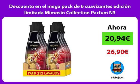 Descuento en el mega pack de 6 suavizantes edición limitada Mimosín Collection Parfum N3