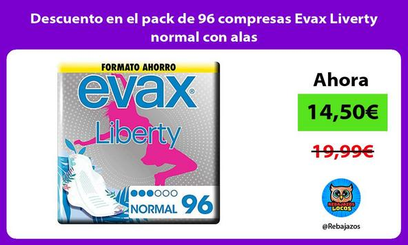Descuento en el pack de 96 compresas Evax Liverty normal con alas