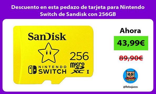 Descuento en esta pedazo de tarjeta para Nintendo Switch de Sandisk con 256GB
