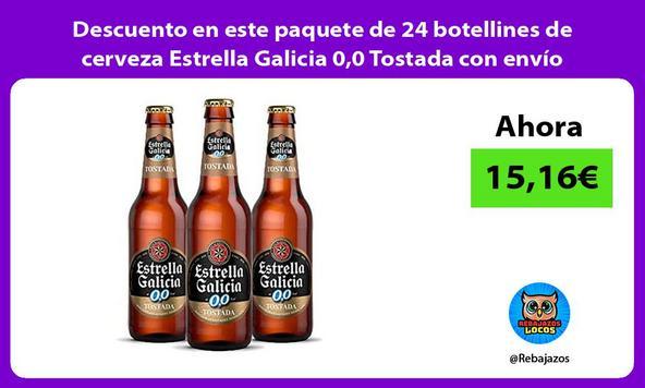 Descuento en este paquete de 24 botellines de cerveza Estrella Galicia 0,0 Tostada con envío Prime