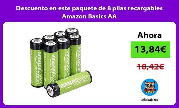 Descuento en este paquete de 8 pilas recargables Amazon Basics AA