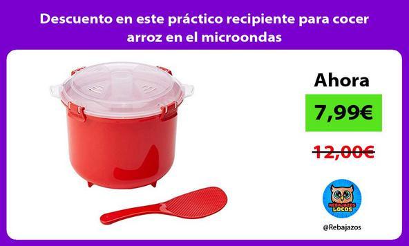 Descuento en este práctico recipiente para cocer arroz en el microondas