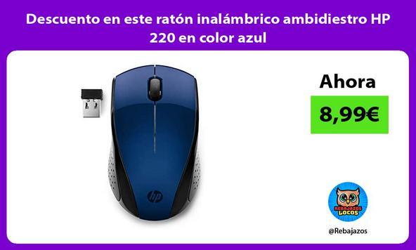 Descuento en este ratón inalámbrico ambidiestro HP 220 en color azul