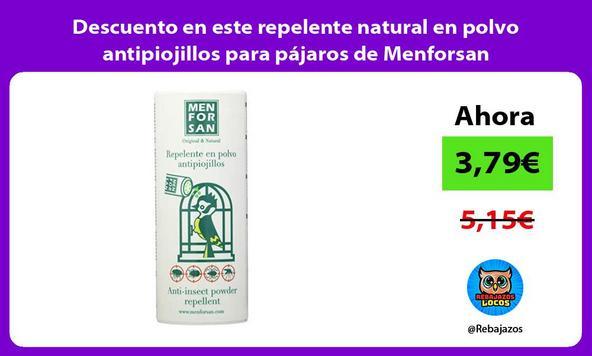 Descuento en este repelente natural en polvo antipiojillos para pájaros de Menforsan