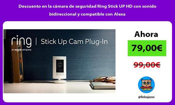 Descuento en la cámara de seguridad Ring Stick UP HD con sonido bidireccional y compatible con Alexa/
