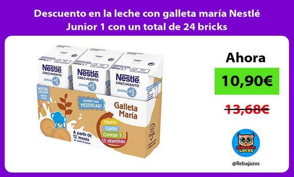 Descuento en la leche con galleta maría Nestlé Junior 1 con un total de 24 bricks