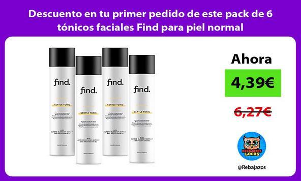 Descuento en tu primer pedido de este pack de 6 tónicos faciales Find para piel normal