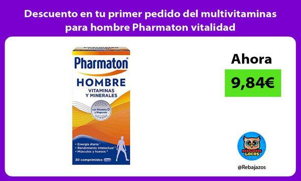 Descuento en tu primer pedido del multivitaminas para hombre Pharmaton vitalidad