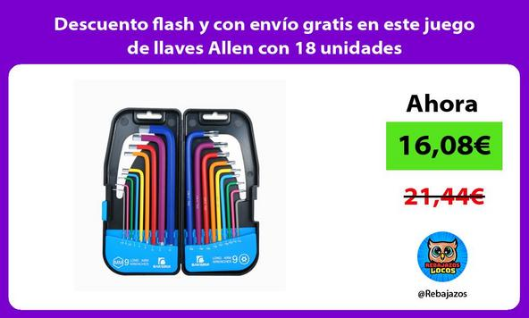 Descuento flash y con envío gratis en este juego de llaves Allen con 18 unidades
