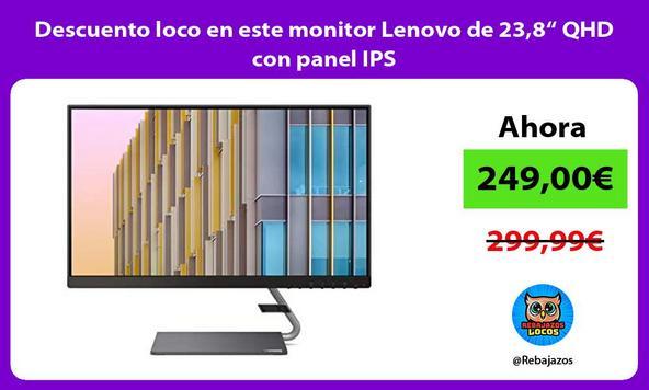 "Descuento loco en este monitor Lenovo de 23,8"" QHD con panel IPS"