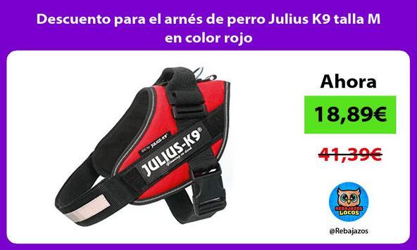 Descuento para el arnés de perro Julius K9 talla M en color rojo