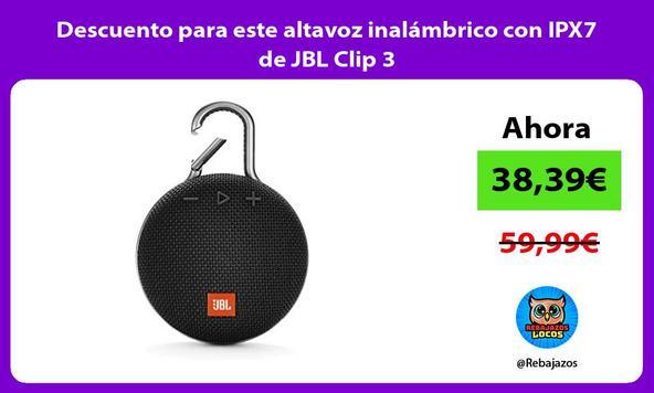 Descuento para este altavoz inalámbrico con IPX7 de JBL Clip 3