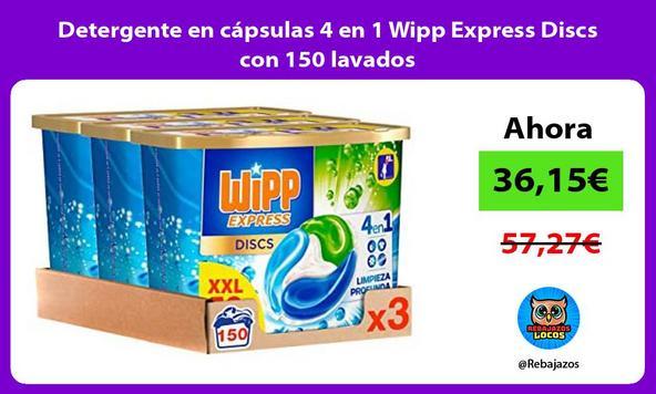 Detergente en cápsulas 4 en 1 Wipp Express Discs con 150 lavados/