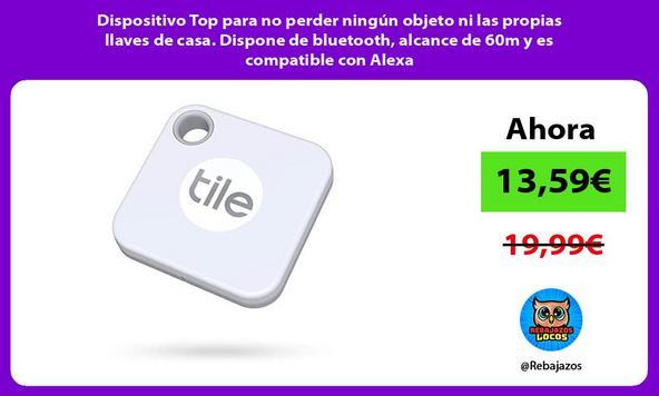 Dispositivo Top para no perder ningún objeto ni las propias llaves de casa. Dispone de bluetooth, alcance de 60m y es compatible con Alexa/