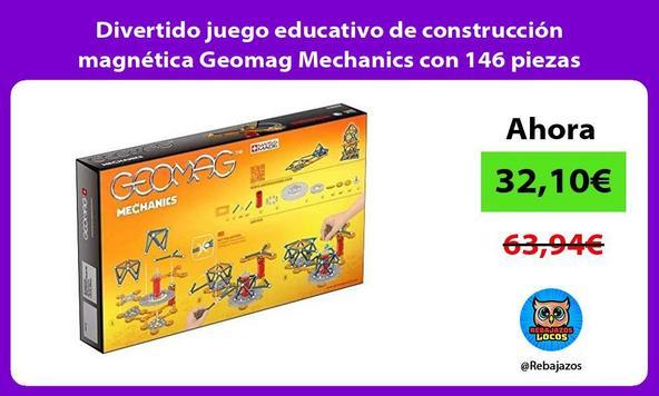 Divertido juego educativo de construcción magnética Geomag Mechanics con 146 piezas