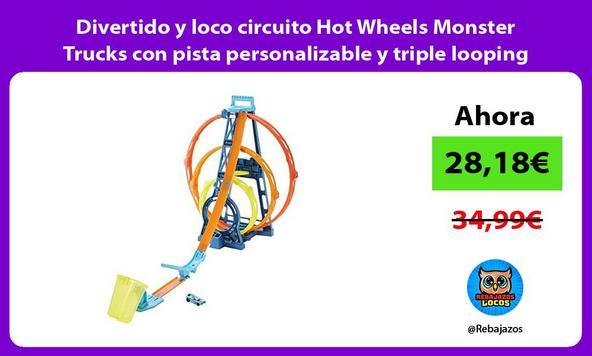 Divertido y loco circuito Hot Wheels Monster Trucks con pista personalizable y triple looping