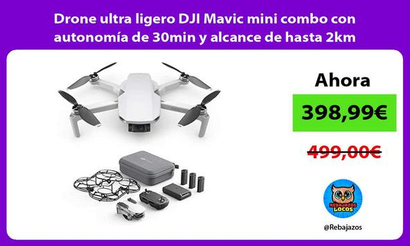 Drone ultra ligero DJI Mavic mini combo con autonomía de 30min y alcance de hasta 2km