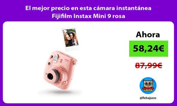 El mejor precio en esta cámara instantánea Fijifilm Instax Mini 9 rosa