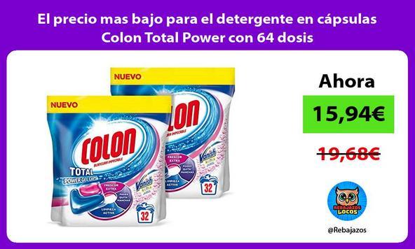 El precio mas bajo para el detergente en cápsulas Colon Total Power con 64 dosis