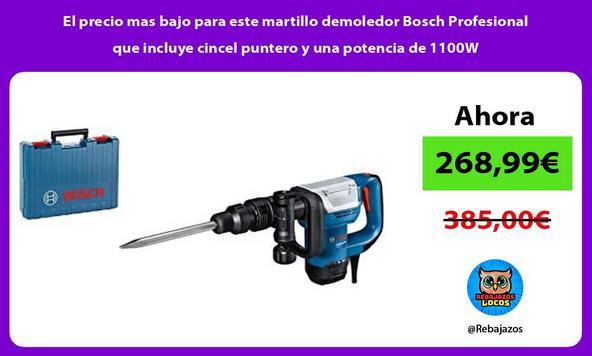 El precio mas bajo para este martillo demoledor Bosch Profesional que incluye cincel puntero y una potencia de 1100W