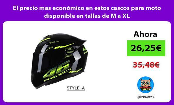 El precio mas económico en estos cascos para moto disponible en tallas de M a XL