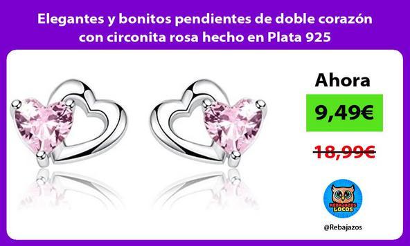 Elegantes y bonitos pendientes de doble corazón con circonita rosa hecho en Plata 925