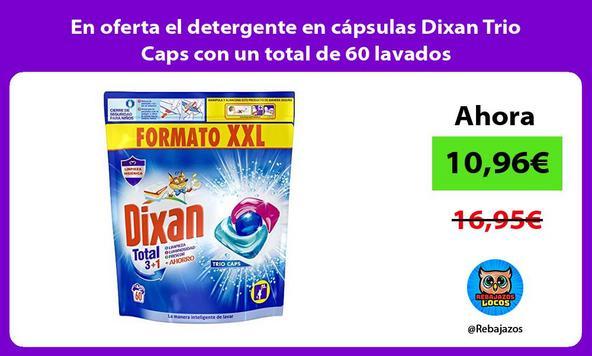 En oferta el detergente en cápsulas Dixan Trio Caps con un total de 60 lavados