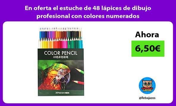 En oferta el estuche de 48 lápices de dibujo profesional con colores numerados