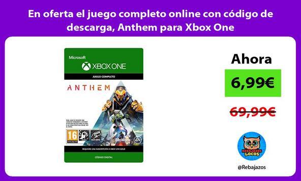 En oferta el juego completo online con código de descarga, Anthem para Xbox One