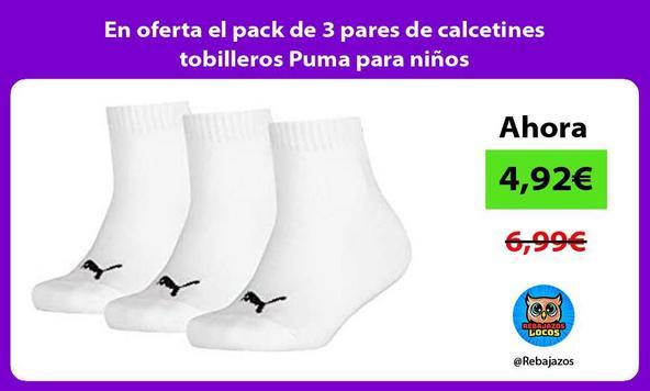 En oferta el pack de 3 pares de calcetines tobilleros Puma para niños