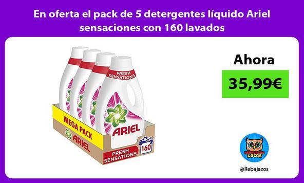 En oferta el pack de 5 detergentes líquido Ariel sensaciones con 160 lavados