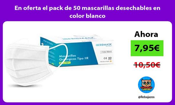 En oferta el pack de 50 mascarillas desechables en color blanco