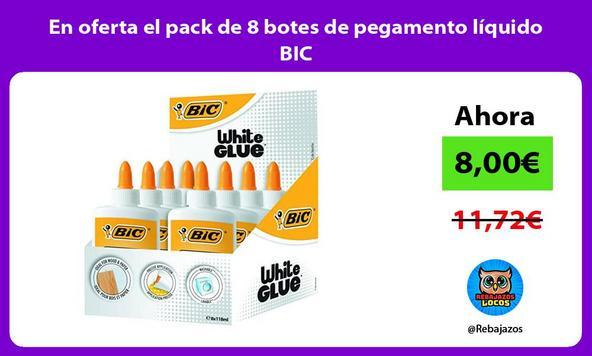 En oferta el pack de 8 botes de pegamento líquido BIC