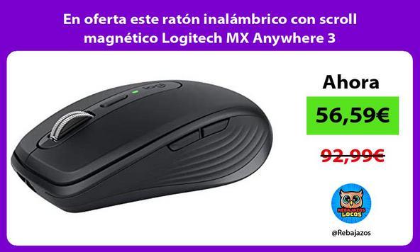 En oferta este ratón inalámbrico con scroll magnético Logitech MX Anywhere 3