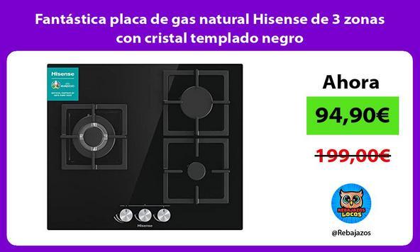 Fantástica placa de gas natural Hisense de 3 zonas con cristal templado negro
