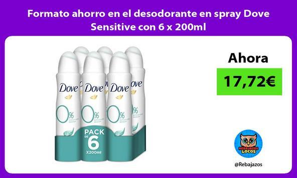 Formato ahorro en el desodorante en spray Dove Sensitive con 6 x 200ml