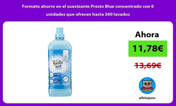 Formato ahorro en el suavizante Presto Blue concentrado con 6 unidades que ofrecen hasta 360 lavados