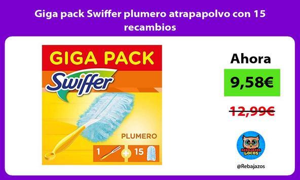 Giga pack Swiffer plumero atrapapolvo con 15 recambios